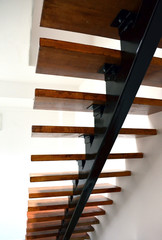 Steel construction of stairs in house