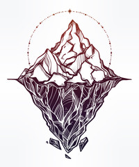 Hand drawn beautiful iceberg illustration.