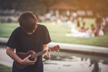 Blurry Musician are Playing Ukulele in the Park - Lifestyle Concept