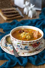 Tomato soup with bulgur carrot and smoked ribs