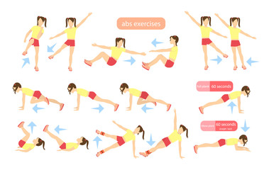 Exercises for kids set. Workout for girls. Abs exercises with weights. Healthy lifestyle for children.