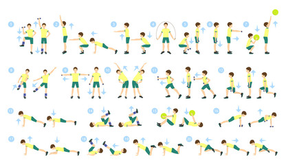 Exercises for kids set. Workout for boys. Exercises for whole body with weights, jumping rope and fit ball. Healthy lifestyle for children.