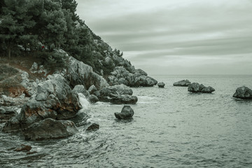 cloudy day in the late afternoon on the sea coast in the summer among the rocks.
