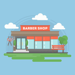 Barber shop building. Isolated urban building with sign and storefront. City landscape with clouds and trees.