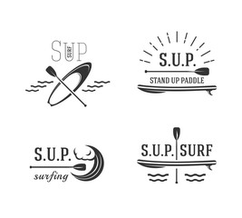 Stand up paddle. Sup surfing signs, logos