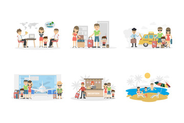 Family holiday set on white background. Buying tickets, and choosing place, packing luggage and relaxing on the seaside.