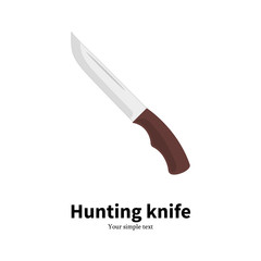 Vector illustration flat icon of a hunting knife