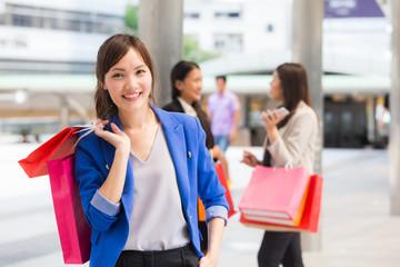 Protrait beautiful asian women shopping at city, shopping protrait concept.