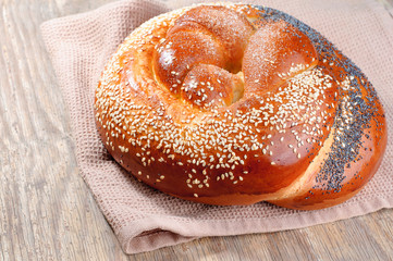 Sweet buns with poppy seeds and sesame seeds