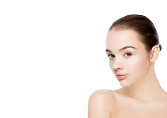 Beautiful woman with natural makeup spa scin care