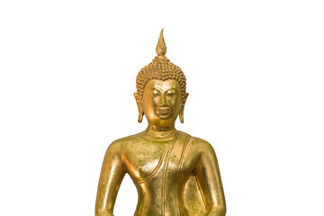 Golden Buddha statue in Thailand isolate on white background
