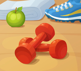 Dumbbells, trainers and green apple. Illustration of healthy lifestyle sport