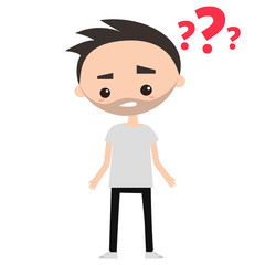 Bearded man is trying to solve his problem / flat editable vector illustration, clip art