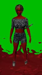 3d-Illustration, Teufelin auf grünem Hintergrund