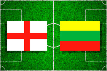 Flags England - Lithuania on the football field. 2018 football qualifiers