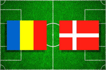 Flags of Romania - Denmark on the football field. 2018 football qualifiers