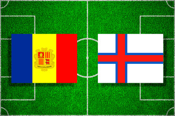 Flags Andorra - Faroe Islands on the football field. 2018 football qualifiers