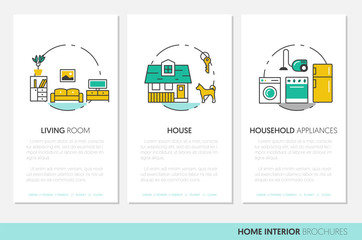 House Interior Business Brochure. Linear Thin Line Vector Icons with Furniture