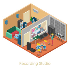 Isometric Music Recording Studio Interior with Singer. Vector 3d flat illustration