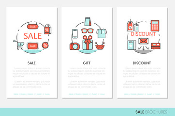 Sale Discount Business Brochure. Linear Thin Line Vector Icons Set with Shopping Elements
