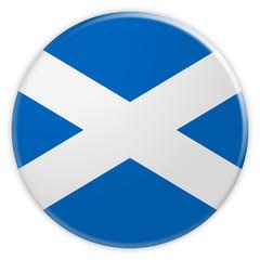 Scotland Flag Button, 3d illustration on white background