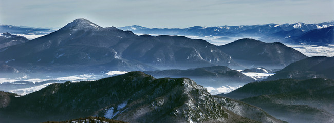 Winter landscape and peaks in national park Mala Fatra,Slovakia