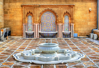 Fountain at the Mausoleum of Mohammed V in Rabat, Morocco