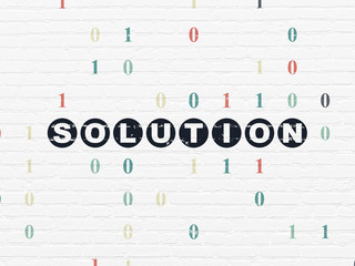 Business concept: Solution on wall background