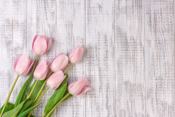 Fresh pink tulip flowers bouquet on white wooden rustic table