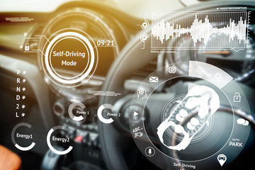 Smart car (HUD) concept. Empty cockpit in vehicle and Self-Driving mode car graphic screen with...