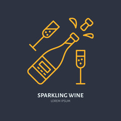 Sparkling wine in bottle and two wineglasses line icon. Vector logo for celebration event. Linear illustration for alcohol store.