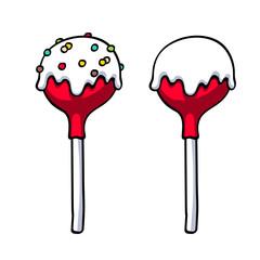 Lollipops cake pops set vector illustration.