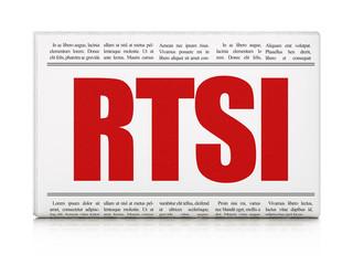 Stock market indexes concept: newspaper headline RTSI