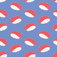 Sushi. Decorative seamless pattern. Vector