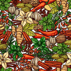 Seamless Herbs And Spices Color Pattern