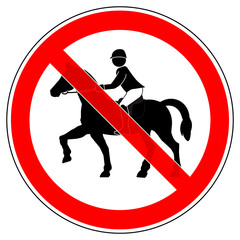srr195 SignRoundRed - german - Verbotszeichen: Reiten verboten / Reitverbot - english - prohibition sign / no horse riding allowed - xxl g5095