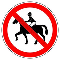 srr195 SignRoundRed - german - Verbotszeichen: Reiten verboten / Reitverbot - english - prohibition sign / no horse riding allowed - xxl g5095