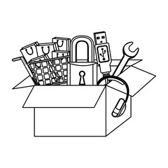 monochrome contour with box obsolete objects vector illustration