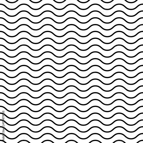 Seamless Wavy Pattern Black Thin Lines On White Background Adorable Wavy Pattern