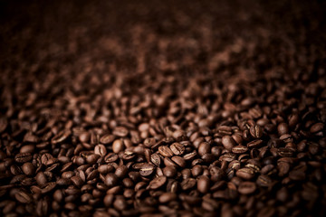 Poster Café en grains Roasted coffee beans background