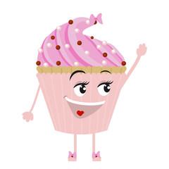 Cute and funny cupcake waving his hand in greeting. Delicious cupcake dessert icon vector illustration, graphic design . Cartoon . Comic.