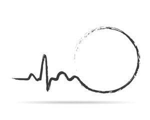 Drawn heartbeat icon with circle. Vector illustration.