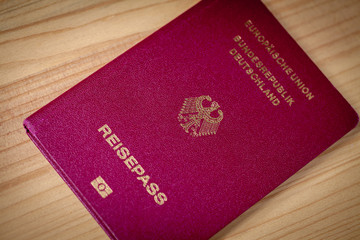 german imperial eagle on the german passport cover