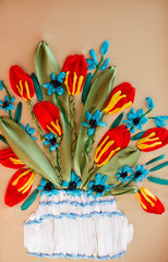 picture embroidered red and green ribbons, tulip flowers