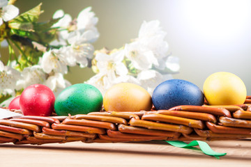 Easter colored eggs and Easter Caroling