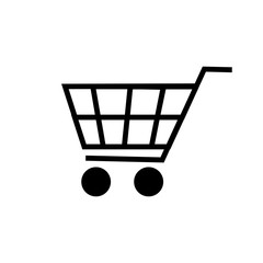 Vector shopping cart icon isolated on white background