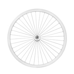 Aluminum bicycle wheel. On white with clipping path