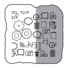 monochrome contour sticker with computer icons vector illustration