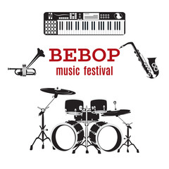 Vector set of bebop jazz music instruments, flat design.