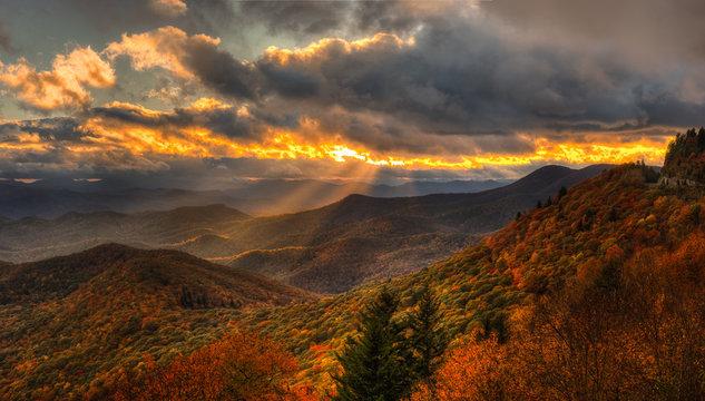Autumn Sunset on the Blue Ridge Parkway near Brevard North Carolina
